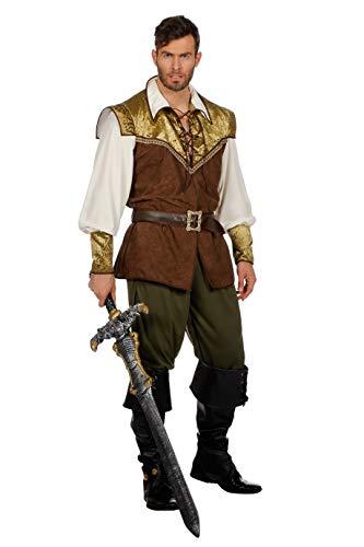 The Fantasy Tailor Mittelalter Kostüm Herren Komplett, Braun-Grün, Oberteil, Gürtel, Hose Mittelalter-Tracht Karneval Fasching Hochwertige Verkleidung Größe 58 Braun (Herren Fantasy Kostüme)