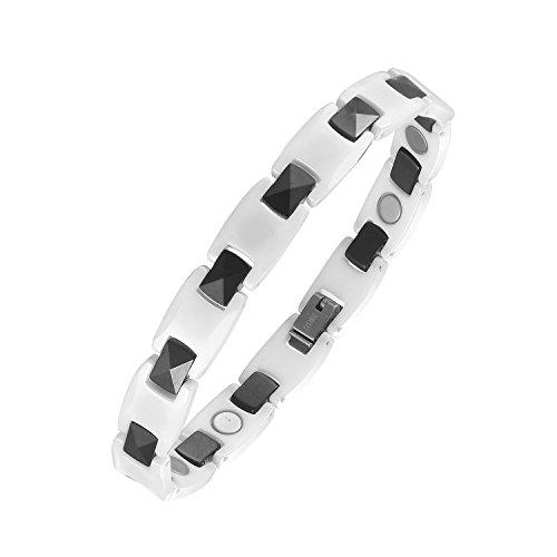 76a13e2942a1 moocare Salud Terapia magnética pulsera de cerámica blanco y negro