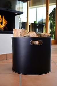 holzkorb korb f r kaminholz leder schwarz. Black Bedroom Furniture Sets. Home Design Ideas