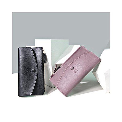 Yvonnelee Grande capacità lusso Portafoglio da donna in pelle borse-Portafogli con portamonete e porta carte di credito e tasca con Pocket Porpora