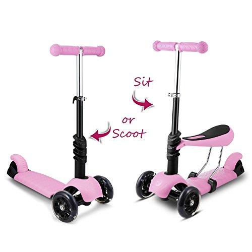 Hikole 3-in-1 Kleinkinder Kinderroller Scooter Für Kinder | 3 Räder Mini Kick Scooter mit abnehmbarem Sitz, blinkende Räder und verstellbare Lenker für Mädchen, Kleinkind & Jüngere Kinder Alter:3-8