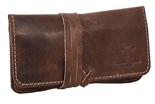 Portatabacco in pelle Gusti Leder studio ''Jesse'' astuccio in cuoio unisex marrone scuro portaoggetti portasigarette accessori vintage 2T1-22-6