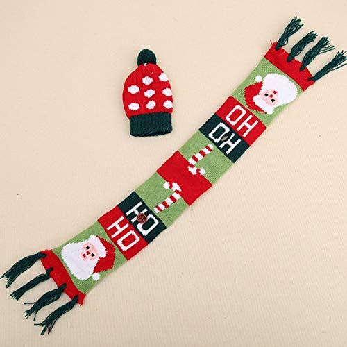 Gestrickte Quaste Schal & Hut Kappe Weihnachten Rotwein Flasche Abdeckung Dekoration Home Party Neuheit Große Geschenke Weihnachten deko (Weihnachten Neuheit Hut)