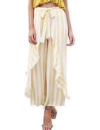 Mujer Verano s Pantalones Anchos Flecos Elastische Taille Bandage con Lazo  Lindo Chic Volantes Irregular Anchos e6fe48b40816