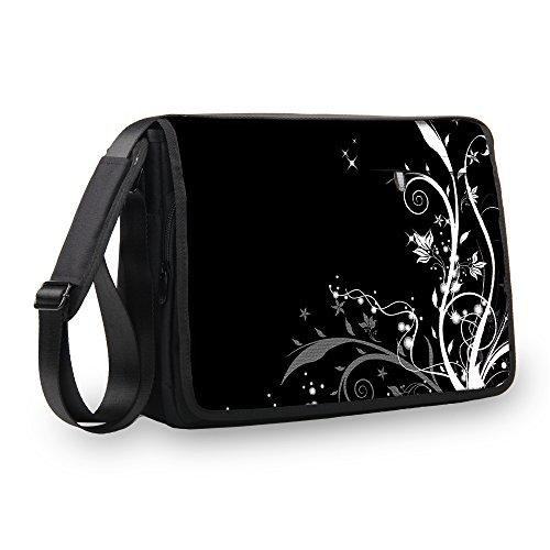 MySleeveDesign Messenger Bag Laptoptasche Notebooktasche mit Tragegurt - Tasche für Laptop & Notebook der Größen 13,3 Zoll / 14 Zoll / 15,6 Zoll / 17,3 Zoll - VERSCH. Designs - Flowers White - 17