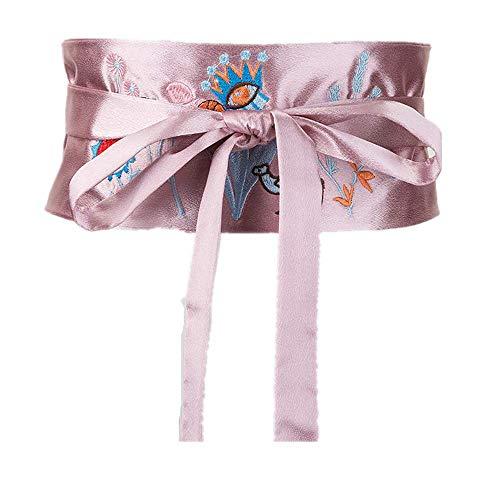 Frauen Retro Casual Stretch Fashion Krawatte Seil Krawatte Gestickte Blume Gürtel Dekoration Langes Hemd T-Shirt Kleid Breiter Gürtel, Rosa, 65-85cm -