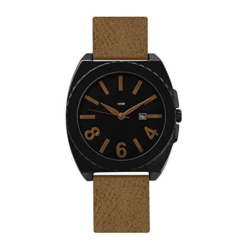Rindasr Studentenbewegung im Freien Geschäftsreiseuhr Ultradünner Körper Quarz Uhren Runder Lederband (Farbe : B)