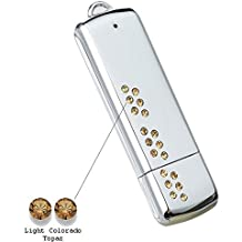 Faost Design 32GB DM328932-18G Swarovski Crystal Metal USB Drive,Memory Stick with Case Handmade,Storage More Color Crystal (Gold)