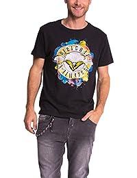 DESIGUAL 52T14G6 Herren T-Shirt, Rundhals, TS FLACO, schwarz-bunt
