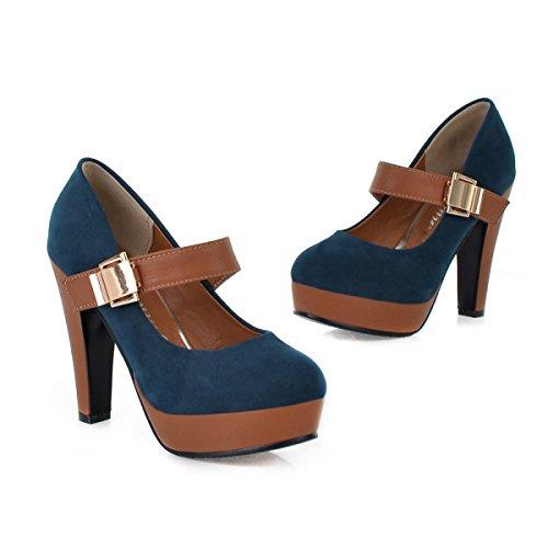 GRRONG Chaussures Imperméables Chaussures à Talons Hauts De Femmes Velcro Ultra-haute Avec Les Chaussures Peu Profondes Bouche Automne Et L'hiver blue