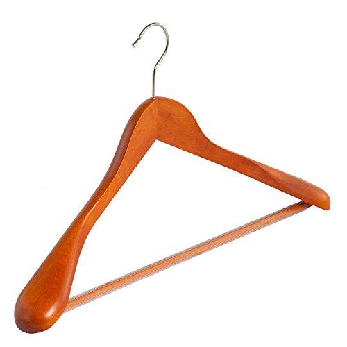 4 x Grucce in legno per mantello / giacche laccato ciliegio con barra (antiscivolo) e spalle larghe (45 mm), 45 cm - IL GIGANTE DEL PORTABITO