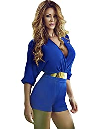 EOZY Femme Col V Ceinture Court Manche Combinaison Short Pantalon Bleu