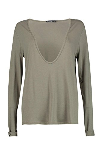 Femmes Kaki Macie Extreme Scoop Long Sleeve Top Kaki