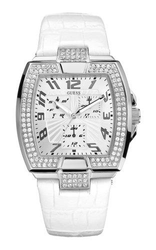 Guess Prism Squared W14515L2 - Reloj unisex de cuarzo, correa de piel color blanco