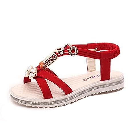 50s Écharpe - Minetom Femme Eté Mode Plat Sandals Doux