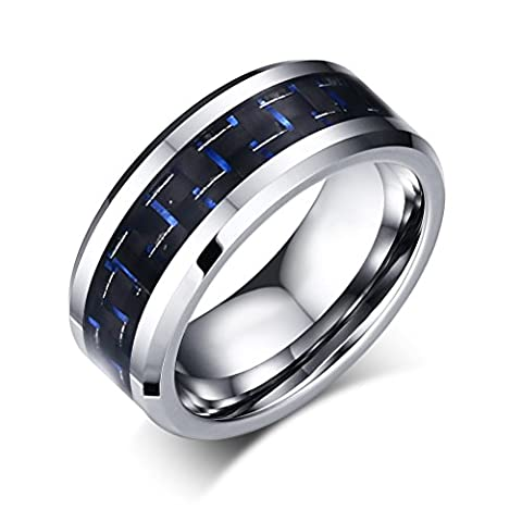 Vnox 8mm Tungsten Carbide Blue Carbon Fiber Inlay Wedding Engagement Band Ring for Men,Silver Base,UK Size V
