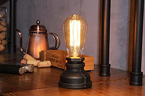 FSLiving Steampunk Iron Table Lamp Vintage Style Desk Light E27 Iron Base Modern Antique Table Light Bulbs not