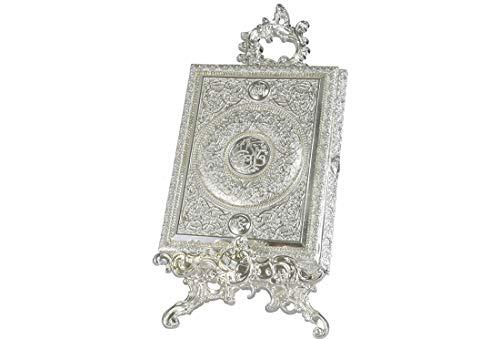 Dekonaz | Koran-Schachtel | Koran-Box | Koran-Kasten | Inkl. Ständer | 22,5 x 29,5 x 5,5 cm | Aus Metall & Filz | Silber | Koran Nicht im Lieferumfang enthalten