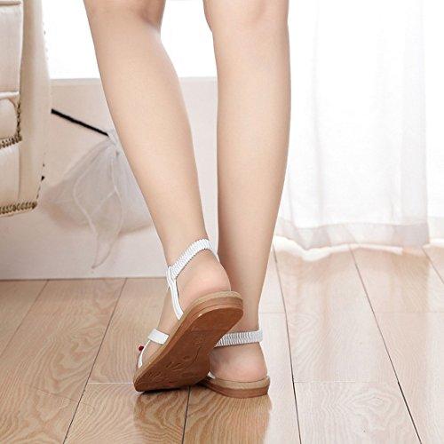 Vertvie Femme Fille Été Sandales de Plage Flats Chaussures Tongs Clip Toe Bride Arrière Élastique Blanc