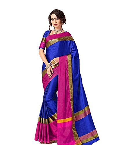 Indian Beauty Cotton Saree with Blouse Piece (IB-1113_Blue_Free)