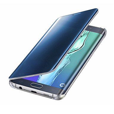 Belle casse, custodie, custodia rigida smart per pc con lucchetto a specchio uv di clear view di alta qualità per samsung galaxy ( colore : azzurro , modello compatibile : galaxy s6 edge plus )