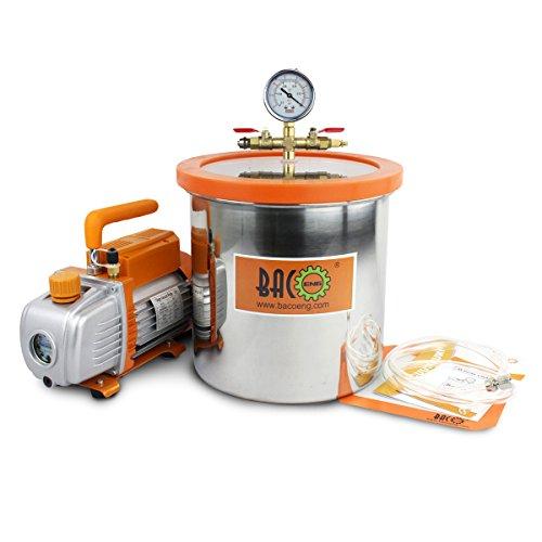 BACOENG 12L Vakuumkammer mit 85L/Min Einstufige Vakuumpumpe Unterdruckpumpe mit Manometer HVAC (50 Cfm Lüfter Motor)