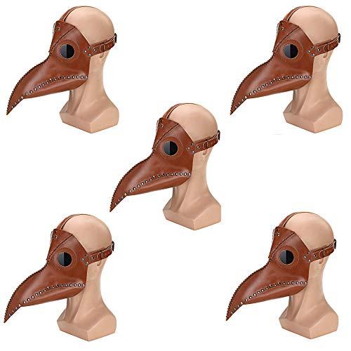 CLDGF Punk-Horror Maske, Vogel Gesicht, PU-Leder, Rollenspiel, Lange Nase, Pest-Arzt, Halloween-Party-Kostüm (29Cmx 25Cm),5PACK