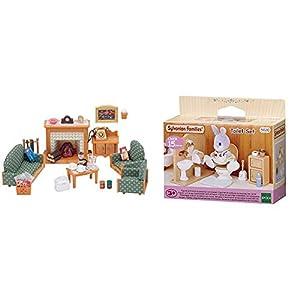 SYLVANIAN FAMILIES Deluxe Living Room Set Mini Muñecas Y Accesorios, (Epoch para Imaginar 5037) + Toilet Set Mini muñecas y Accesorios, (Epoch para Imaginar 3563)