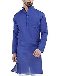 Royal Kurta Men's Khadi Linen Long Kurta (1212QOPQA39_Blue_40)