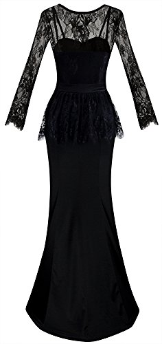 Angel-fashions Femme Manches longues perles ceinture Voir au travers Floral Lace Ruffles longues robes de soirEe Noir