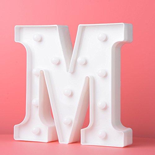 Preisvergleich Produktbild Up in Lichter Dekoration LED Alphabet Weiße Buchstaben Lichter Festzelt Licht Zeichen Batteriebetrieben für Party Hochzeit Empfänge Holiday Home & Bath Bridal Bar Decor (M)