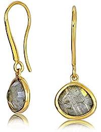 Bling Jewelry Labradorita Plata Esterlina 925 modernos pendientes chapado en oro caída
