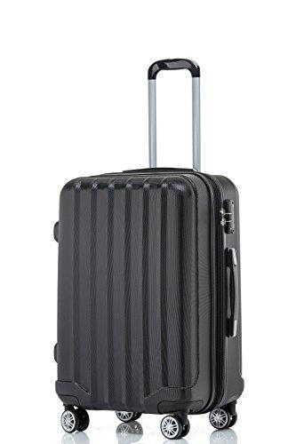 TSA-Schloß 2080 Hangepäck Zwillingsrollen neu Reisekoffer Koffer Trolley Hartschale XL-L-M(Boardcase) in 12 Farben (Schwarz, L)