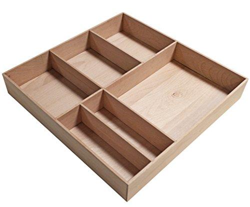 FACKELMANN Orga-Box Stanford/Organisations Box aus stabilem Buchenholz/Maße (B x H x T): ca. 38 x 4,5 x 37 cm/Ordnungssystem für Schubladen mit 6 Fächern/Farbe: Braun hell/Breite: 38 cm -