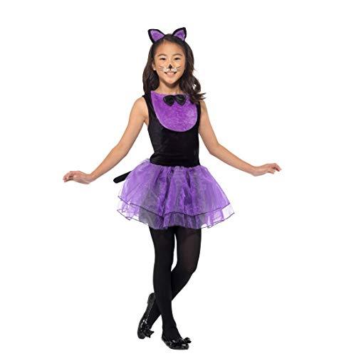 Amakando Entzückendes Katzen-Kostüm für Kinder / Schwarz-Violett in Größe S, 4 - 6 Jahre, 115 - 128 cm / Katzen-Kleid für Mädchen Miezekatze / Genau richtig zu Fastnacht & - Schwarze Katze Tutu Kostüm