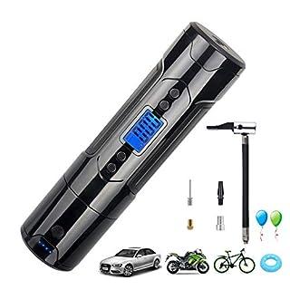 YIKANWEN Digitale Luftpumpe 12V I50PSI, Mini Auto-Luftpumpe, Elektrischer Kompressor, Tragbare Reifenpumpe mit eingebautem 1000 mAh Akku für Fahrrad, Motorrad,Bälle(Schwarz)