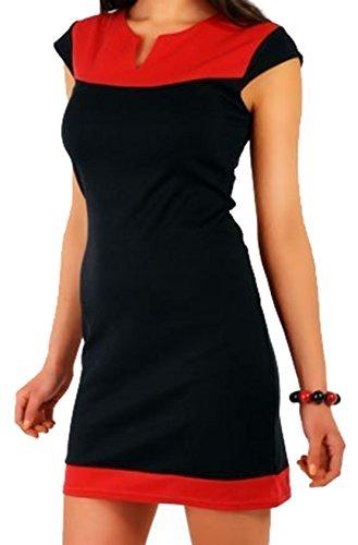 GBT Mischung Kurzärmeliges Kleid Rot