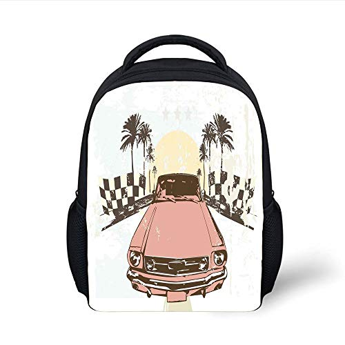 Kids School Backpack Grunge,Old Fashioned Car Auto Sport Checkers Palms Sun Retro Road Racing Speed,Coral Mint Green Yellow Plain Bookbag Travel Daypack Palm Double Old Fashioned
