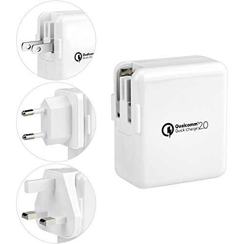 BESTEK Schnellladegerät/Qualcomm Quick Charge 2.0 USB Charger Ladeadapter Reiseadapter mit zwei austauschbaren Steckern: US, UK, EU, JP. Multi-Port USB Charger Reiseladegerät Mit Smart IC für iPhone / iPad / iPod & Android Windows Phone / Tablet, USB Ladeeinrichtungen, 18W, 5V/ 9V/ 12V, 18W (Verizon-handys-zubehör)