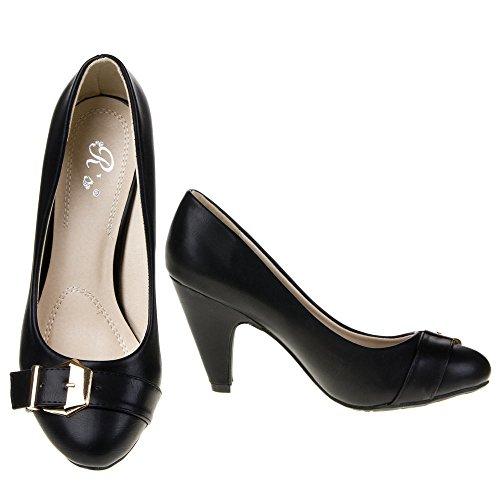 Damen Schuhe Schnalle Pumps Klassische High Heels Ital-Design Schwarz 0250-P-