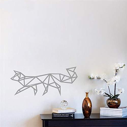 Adesivo da Parete per Bambini Geometria Volpe Adesivi murali Decorazione per la casa Adesivo Bianco Nero Adesivo da Parete in Vinile 3D Pittura murale Grigio Piccolo 25X56cm
