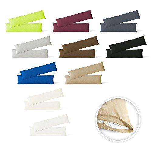EXKLUSIV HEIMTEXTIL Jersey Kissenbezug Hülle 2 Sparpack Set mit Reißverschluss hochwertige Qualität 40 x 145 cm anthrazit -