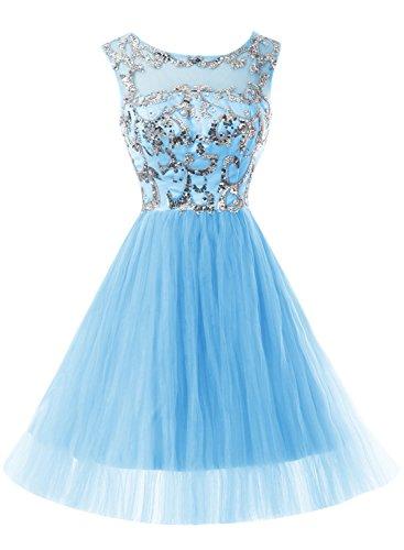 Bbonlinedress Robe courte de soirée de cocktail Robe de bal en tulle forme princesse emperlée Bleu