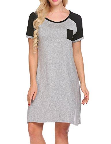 frock Modal Nachthemd Lose Negligee Nachtwäsche Sleepshirt Freizeitanzug Umstandskleidung Schwarz S (Polyester Nachthemd)