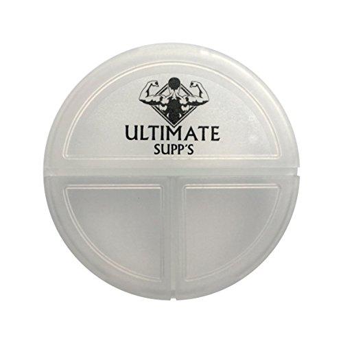 ULTIMATE Supp´s Pillendose - flache handliche Pillenbox für unterwegs / kleine Tablettenbox - Tablettendose mit 3 Fächern (Transparent Bodybuilding)