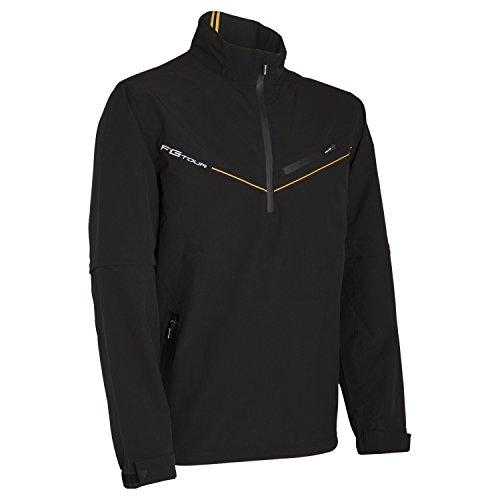 Wilson Regenjacke mit halbem Reißverschluss und abnehmbaren Ärmeln für Golfer, FG Tour Detachable Sleeve Rain Top, Polyester, schwarz, Gr. L, WGA700333