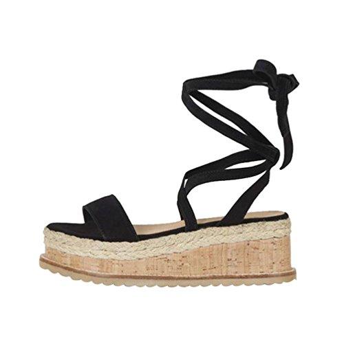 Yuanu Donna Colore Solido Caviglia Cinghie Impermeabile Piattaforma Sandali con Zeppa, Estive Moda Romano Stile Tacco Alto Peep Toe Scarpe con Lacci Nero 37