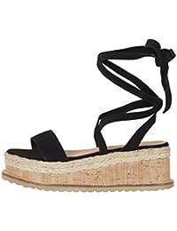 Yuanu Donna Colore Solido Caviglia Cinghie Impermeabile Piattaforma Sandali  con Zeppa 9f029b78d63
