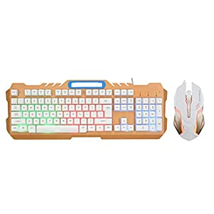 XIAOYH Gaming Set Combos, USB Verdrahtete LED Backlit Mechanische Gefühl Gaming-Tastatur Mit 3200 DPI Gaming Mouse Adjustable Für Gamer