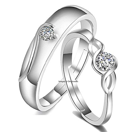 Om Jewells Cz Jewellery Rhodium Plated Adjustable Solitaire Proposal Couple Band Ring for Men and Women CO1000199